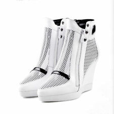 SEXY WOMEN WEDGE HEELS ZIP NET CLOTH SNEAKER POINTED TOE ANKLE DRESS SHOES BOOTS