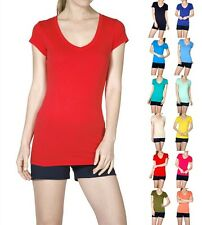 Basic V Neck T Shirt Short Sleeve Long Layered Tee Solid Top - S M L