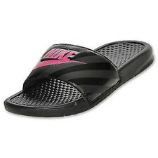 Women's Nike Benassi JDI Swoosh Slide Sandals Black/Pink  womens New