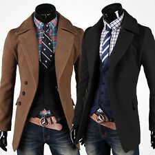 Smart Mens Slim Fit Double Breasted Trench Windbreaker Coat Pea Coat Jacket Tops