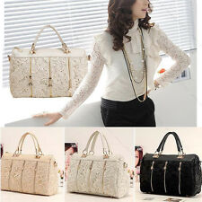Fashion Vintage Women PU Leather Messenger Bag Tote Shoulder Bag Lace Handbag BT