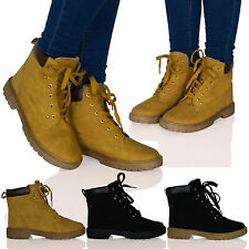 D8N Womens Desert Lace Up Boots Flat Ankle Thick Sole Military Girl Ladies Shoes