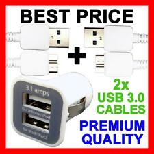 Dual USB Car Charger + USB 3.0 Adapter Cable for Samsung Galaxy S5 SV Note 3 III