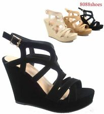 Cute Strappy Low Wedge Open Toe Platform Fashion Sandal Shoes Size 5  - 10 NEW