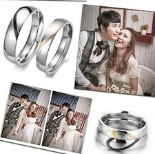 New Heart Shape stainless steel Titanium Marriage proposal Couple Wedding Ring