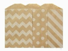 "100 Small Kraft Paper Bags, 2.75 x 4"",  Choose polka dots, chevron or diagonal"
