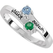 Personalized Mother's Jewelry Sterling Silver 1-4 Names & Birthstones Ring,