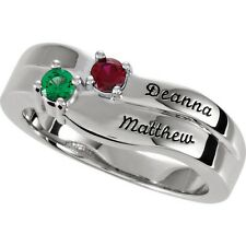 Personalized Mother's Jewelry Sterling Silver 1 to 4 Names & Birthstones Ring