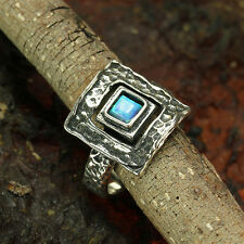 Sterling Silver Square Blue Fire Opal Ring Size 7 7.5 8 Artisan Jewelry R004OP