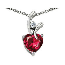 7MM OR 9MM HEART SHAPE RUBY PENDANT SOLID 14K YELLOW OR WHITE GOLD SETTING