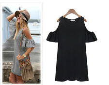 Ladies clothes butterfly sleeve cute strapless dress lady plus size shirt dress