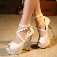 WOMEN'S LADY SEXY STRAPPY PARTY PEEP TOE HIGH HEEL PLATFORM SANDALS SHOES SIZE
