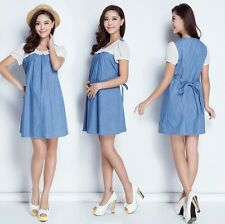 2014 fashion lace stitching denim short-sleeved dress for pregnant women