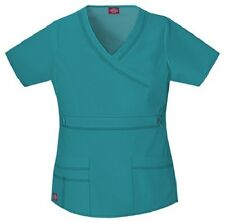 Dickies Scrubs 817355 V Neck Scrub Top Dickies GenFlex Jr Fit Teal
