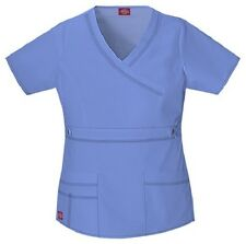 Dickies Scrubs 817355 Mock Wrap Top Dickies GenFlex Jr Fit Ceil Blue