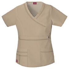 Dickies Scrubs 817355 V Neck Scrub Top Dickies GenFlex Jr Fit Khaki