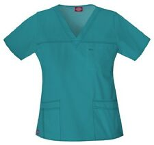Dickies Scrubs 817455 V Neck Scrub Top Dickies Youtility Jr Fit Teal