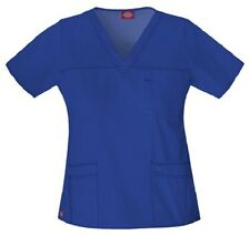 Dickies Scrubs 817455 V Neck Scrub Top Dickies Youtility Jr Fit Galaxy Blue