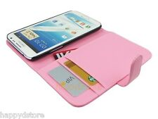 Leather Wallet Case with Card Pocket Slot for Samsung Galaxy Note 2 Note II