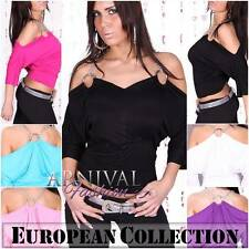 NEW SEXY WOMEN'S DESIGNER TOP size 6 8 10 LADIES PARTY SHIRT pink CLUB WEAR S M