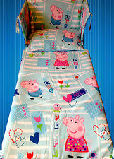 Peppa Pig and GEORGE PIG BOYS BEDDING SET and CURTAINS - Light Blue