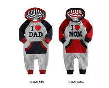 New Baby Boy Girl Clothes Clothing Love Mom Dad Hooded Romper Pants 0-18M
