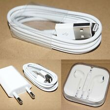 Genuine Original EU US Charger / USB Cable / Earphones for Apple iPhone 4s 5 5C