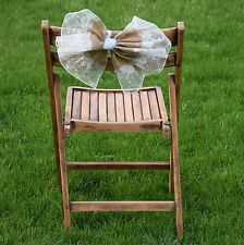 "Shabby-Chic Burlap and Lace Chair Bows! ""Eliza Grace"" Style Lace"
