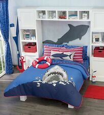 New Boys Navy Blue Sea Shark Comforter Bedding Sheet Set Reversible