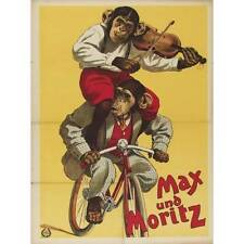 NEW! Vintage Max & Moritz Monkeys Chimpanzee Riding Bike Violin Art Print Poster