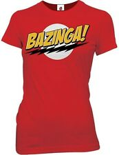 The Big Bang Theory Bazinga! Red Funny TV Womens Cotton Fitted T Shirt