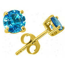 0.50 - 4.00 CARAT 14K SOLID YELLOW GOLD TOPAZ ROUND SHAPE STUD EARRINGS PUSH