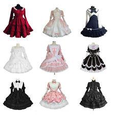 Halloween Victorian Gothic Lolita Cosplay Tiered Layered Skirt Women Long Dress