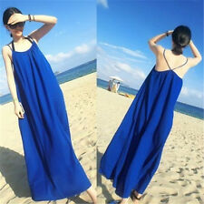 Womens Sleeveless Boho Bohemian Chiffon Summer Beach Long Maxi Dress blue