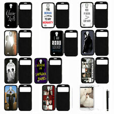 Sherlock Cool For Samsung Galaxy S4 i9500 View Screen Leather Case No Botton