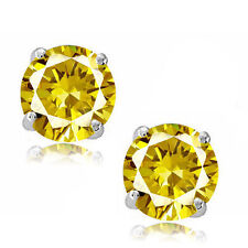 Round Cut Cubic Zirconia CZ Canary Sterling Silver November Basket Stud Earrings
