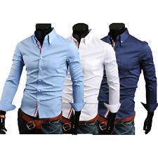 New Mens Luxury Casual Slim Fit Stylish Dress Shirts 3 Colours 4 Size S M L XL