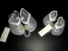 """NEW Toddler & Youth Girls ' """"Jewelled"""" Thong Sandal Flip-Flops, Silver/White"""