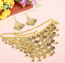 Belly Dance Costume Golden/Silver Coins Tribal Necklace + Earrings Jewelry