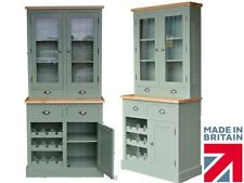 F&B Painted, Solid Pine Bordeaux 3ft Glazed Display Top Dresser with Wine Rack