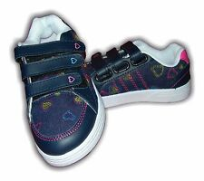 Girls Trainers Denim Velcro Multi Colours HEARTS Sizes 8-3 Available