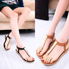 New Women Girl Metal sandals female Flat Heel T-Strap  Flip flops Sandel