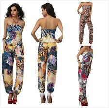 New Summer Women's Floral Pattern Lovely Sleeveless Jumpsuits Long Trousers