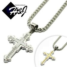 """18-40""""MEN Stainless Steel 5mm Silver Smooth Box Chain Necklace Cross Pendant*K"""