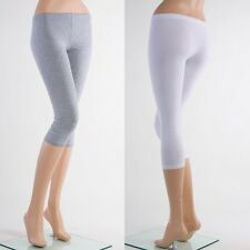 C-B1001 BASIC Capri Cotton Leggings Skinny Stretch Yoga Pants  Regular Plus S~3X