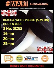 Hook & Loop SEW ON velcro sizes 16mm to 25mm black or white - Per Metre {H&L] B