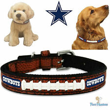 NFL Pet Fan Gear DALLAS COWBOYS Leather Football Collar for Dog Dogs Puppy