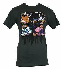 Bloc 28 Mens T-Shirt - Graffiti Stylized Disney Character Boxes Gray