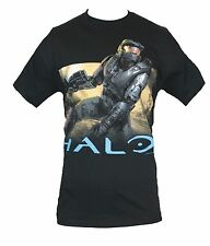 Halo Mens T-Shirt - Master Chief Emergeing From War Torn Landscape Black