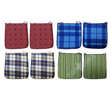 Indoor/Outdoor Square Garden Chair Seat Pad Thin Cushion Blue Tartan Green NEW